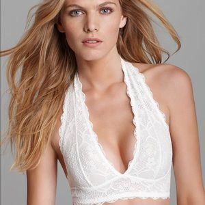 Free People Cream Galloon Lace Halter Bralette